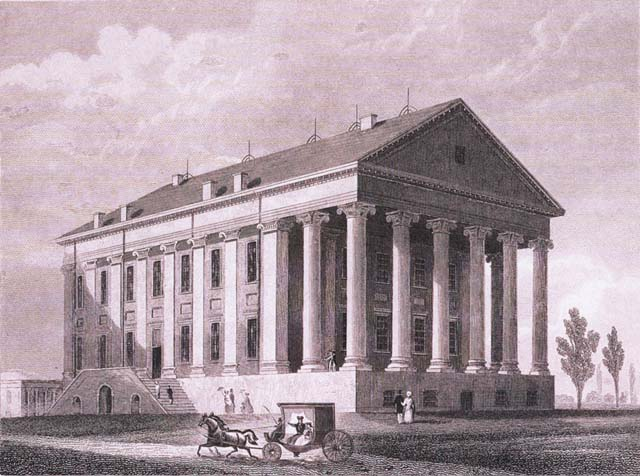 An early view of the Virginia State Capitol